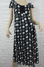 SCARLETT black white polka dot empire waist cap sleeve dress size 8 BNWT NZ