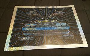 """Todd Slater """"No Roads"""" Back to the Future DeLorean Sparkle Foil Poster 18""""x24"""""""