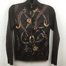 Lauren Ralph Lauren Equestrian Cardigan Sweater Sz Petite Med Zip Brown Quilted