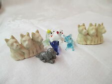 Vintage 7 miniature glass plastic pewter Dogs