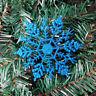 Fj- 12PCS Blu Fiocco di Neve con Glitter Ornamenti Albero Natale Decorazione
