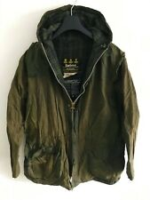 Mens Barbour Durham Hooded wax jacket Green coat 42 in size L/XL Lightweight