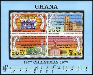"Ghana 644 S/s, MNH. Christmas 1977, Notes. Ovptd ""REFERENDUM 1978 VOTE EARLY"""