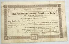 1924 THE STARKEY FILLING STATIONS Stock Certificate FORT COLLINS, COLORADO