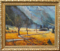 "Mountain rapsody. Original  framed oil on canvas  16""x20"" painting"