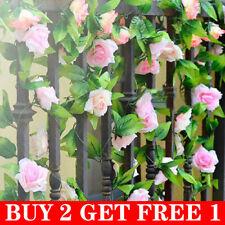 2x 8Ft Artificial Rose Garland Silk String Flower Vine Ivy Wedding Garden Decor