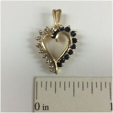 14K Yellow Solid Gold Open Heart Pendant/Charm With Diamonds & Blue Sapphire