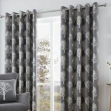 Woodland Trees Charcoal Eyelet Curtains 66x72