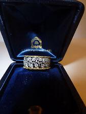 RARE Buccellati 2 File Fogliette Band Ring 18k Yellow/White Gold Diamonds & Box