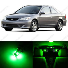 6 x Green LED Lights Interior Package For Honda CIVIC 2001 - 2005 + Pry Tool