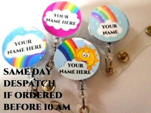 PERSONALISED ONE NAME ID Badge Reel Holder Rainbow Hero Sunshine Cartoon Keyring