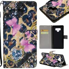 beautiful butterfly 3D wallet Leather case strap for iphone X Samsung S9 S8 LG