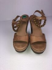 Ugg Naima Leather Beaded Platform Sandals Sz 8 M Brown Wood Heels Strappy Ankle