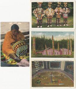Four Native American Scene Postcards - Navajo, Haida, Apache, Wever, etc