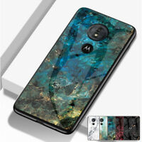 Slim Glossy Marble Tempered Glass Case Cover For Motorola Moto G5s G6 Plus/Play