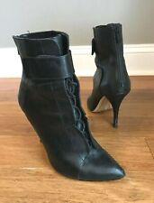Pour La Victoire Womens Black Leather Pointed Toe Lace Up Ankle Boot Bootie Sz 9