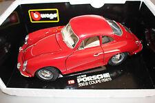 Bburago Porsche 356 B Coupe 1961 rojo 1:18 OVP #e200