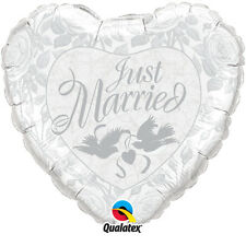 10 Just Married/Doves Silver Heart Foil Helium Balloons Wedding Table Decoration