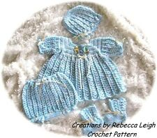 "CROCHET PATTERN for  ""PEPPERMINT"" 4pc Baby Dress Set by REBECCA LEIGH---6/12MO"