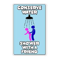 "Conserve Water Shower with a Friend car bumper sticker decal 5"" x 4"""