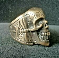 Memento Mori Death Head Hells Angels Biker / Punk Heavy Bronze Ring