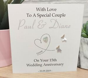 Personalised Crystal 15th Wedding Anniversary Card Special Couple Wife Husband