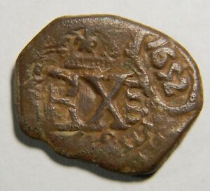 Spain 1652 8 Maravedis cob coin 0984