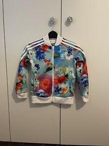 Girls Flowery Adidas Tracksuit Age 7-8