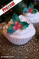 24 X PRE-CUT CHRISTMAS HOLLY EDIBLE WAFER PAPER CUP CAKE TOPPER DECORATIONS