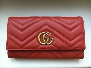 GUCCI GG Marmont Continental Wallet Red Hibiscus Leather 443436 6433