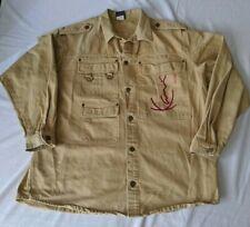 Karl Kani Jeans Mens L Beige Barn Coat Jacket Denim Signature Tupac Era Vintage