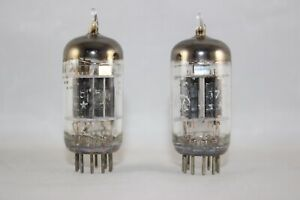 RARE 1950s MATCHED Pair 5-STAR GE 5751 Hi-Fi 12AX7 BLACK 3-Mica TEST 100%+ NOS