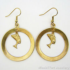 Egyptian Queen Nefertiti Gold Plate and Brass Earrings