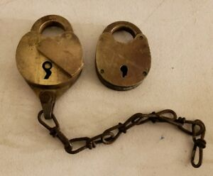 Antique Pair 1800's Brass Padlock Locks - William Bohannan Co. Brooklyn NY USA