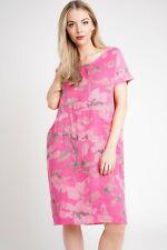 Ladies Floral Italian Lagenlook Panel Insert Scoop Neck 2 Pocket Linen Dress