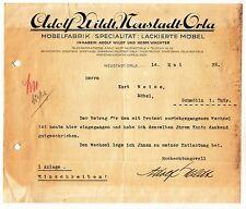 Rechnung Dokument Adolf Wildt Neustadt - Orla Möbelfabrik 1928 ! (D1