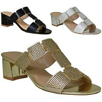New Ladies Low Heel Diamante T-Bar Evening Casual Slip- On Sandals