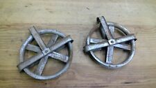 """Pair Galvanized Outdoor Steel 5 3/8"""" Clothes Line Pulley Vintage Steampunk"""