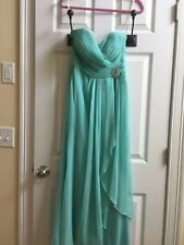GORGEOUS BARI JAY I WOMENS STRAPLESS TEAL PROM DRESS, SIZE 12 PETITE