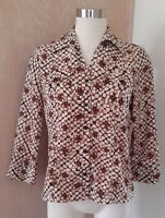 Notations Women's Long Sleeve Tan, Brown and Black Abstract Dot Print Blouse PM