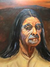 Original Oil Painting By Anita Gish THE OLD INDIAN Signed 2012 Framed 16 X 20