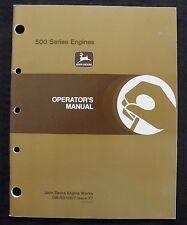 John Deere 6619 500 Series 6619A Diesel Engine Operators Manual Very Nice