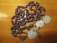 1900s Antique Med Brown Bakelite Beads Rosary-Antique Aluminium Medals Lourdes