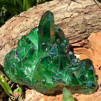 RARE 503g Titanium Apple Aura Quartz Crystal Cluster Energy Healing Specimen