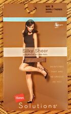 Hanes Solutions Control Top Pantyhose Silky Sheer Toe size Small Barely There