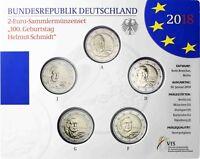 Deutschland 5 x 2 Euro 2018 Stempelglanz Helmut Schmidt Mzz A D F G J im Blister