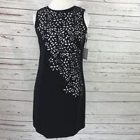 Calvin Klein Women's Shift Dress Sleeveless Black/White Floral Size 4 NWT