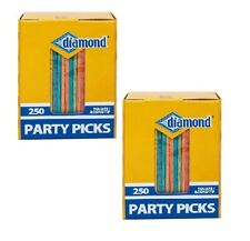 Diamond 250 Square/Round Tip Colored Party Toothpicks LOT OF TWO (2) Boxes!