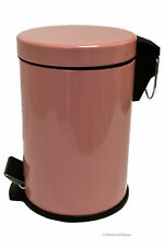 0.8G/3L Kitchen/Bathroom Pink Powder Coated Steel Trash Can Step On Garbage Can