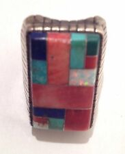 GEM STONE STERLING RING UNIQUE TURQUOISE RARE RECTANGULAR SHAPED ONE OF A KIND